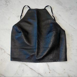 American Apparel leather crop top
